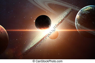 Planet exposion. Elements furnished by NASA