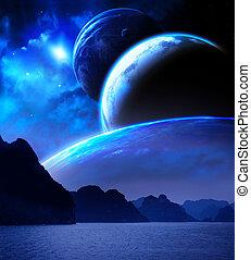 planet, fantasi, landskap