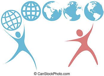 planet, folk, klot, uppe, symboler, swoosh, mull, hålla