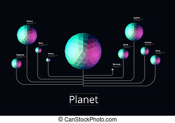 Planet geometric star on space. structure of solar system. vector illustration