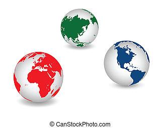 planet, globale, jord, verden