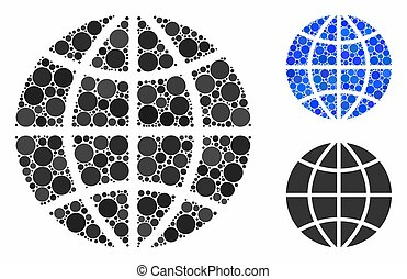 Planet globe Mosaic Icon of Spheric Items - Planet globe ...