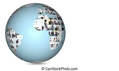 Planet globe turning on itself