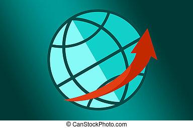Planet globe with big red arrow