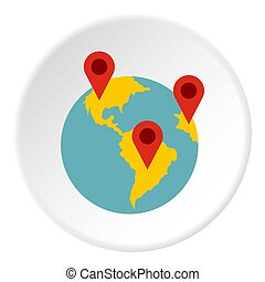Planet GPS signs icon, flat style