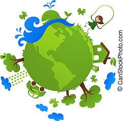 planet, grön