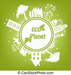 planet, grön, ekologisk