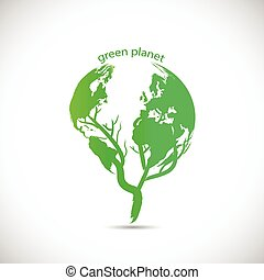 planet, grønne, konstruktion