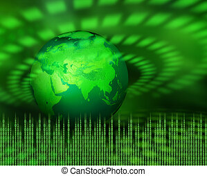 planet, grün, digital