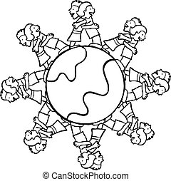Planet Hugs Line Art