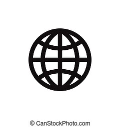Planet icon. Globe earth sign isolated on white background. Flat design. Vector illustration.