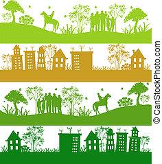 planet, icons., fyra, grön, ekologisk
