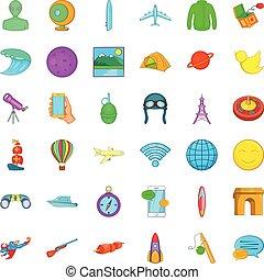 Planet icons set, cartoon style