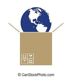 Planet In Box. Flat Color Design. Vector Illustration.