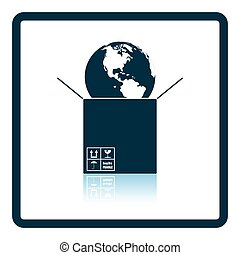 Planet in box. Shadow reflection design. Vector illustration.