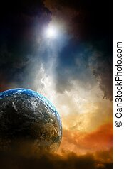 Armageddon background - planet earth in dark sky.