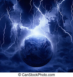 Planet in danger - Dramatic fantastic background -...