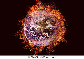 Planet in fire - Earth. Science fiction art.