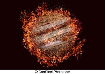 Planet in fire - Jupiter. Science fiction art. Solar system....