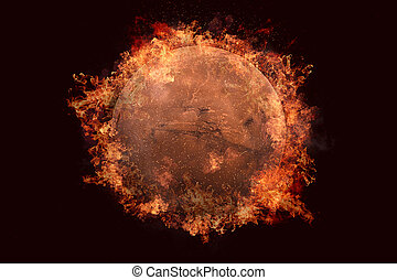 Planet in fire - Mars. Science fiction art.