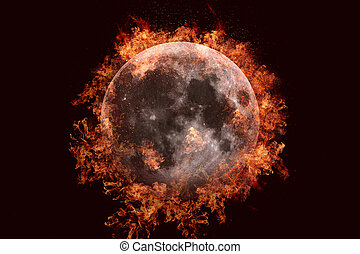 Planet in fire - Moon. Science fiction art.