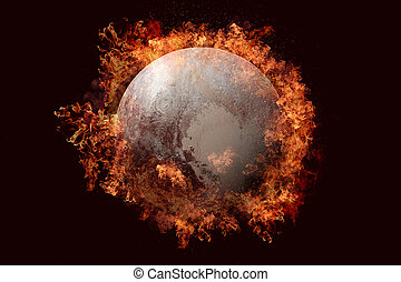 Planet in fire - Pluto. Science fiction art.
