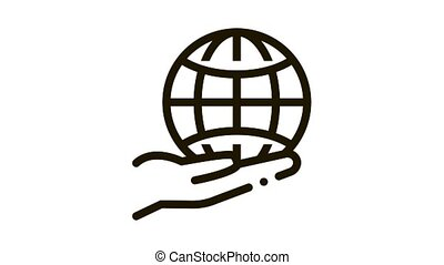 planet in our hands Icon Animation. black planet in our hands animated icon on white background