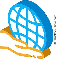 planet in our hands isometric icon vector illustration