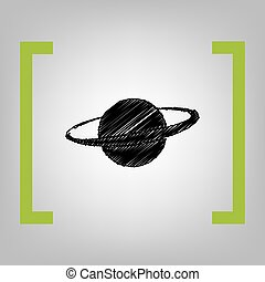 Planet in space sign. Vector. Black scribble icon in citron brackets on grayish background.