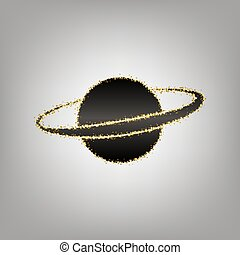 Planet in space sign. Vector. Blackish icon with golden...