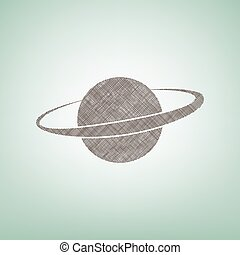 Planet in space sign. Vector. Brown flax icon on green background with light spot at the center.