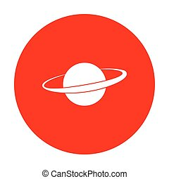 Planet in space sign. White icon on red circle.