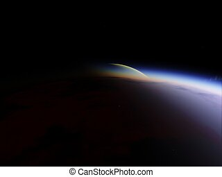 Planet in the space. Colorful art. Star system. Gradient color. Space wallpaper. Elements of this image furnished by NASA
