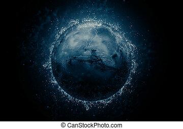 Planet in water - Mars. Science fiction art.