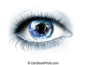 planet is in the eye isolated on a white background