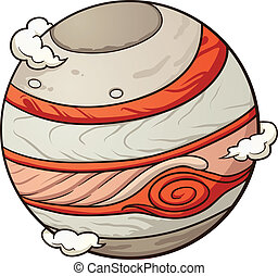Planet Jupiter - Cartoon planet Jupiter. Vector clip art...