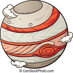 Planet Jupiter - Cartoon planet Jupiter. Vector clip art...