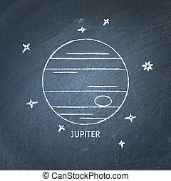 Planet Jupiter icon on chalkboard