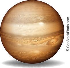 Illustration of planet Jupiter on a white background