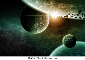 Planet landscape in space made with photoshop CS5