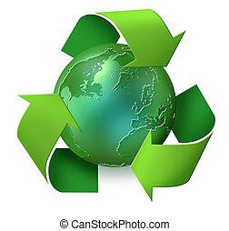planet, mülltrennung, grün