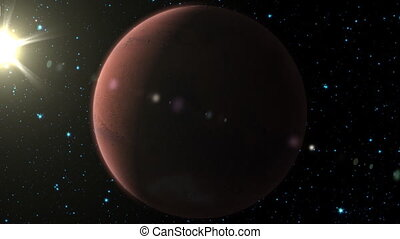 Planet Mars - A silhouette of planet Mars and the sun behind...