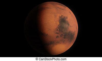 Planet Mars - Beautiful 3d animation of Mars planet rotates...