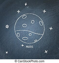 Planet Mars icon on chalkboard