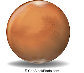 Planet Mars - Illustration of the planet Mars on a white ...