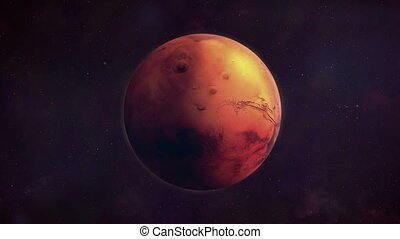 Planet Mars in the darkness of space