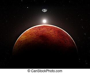 planet, mars, med, måne, illustration