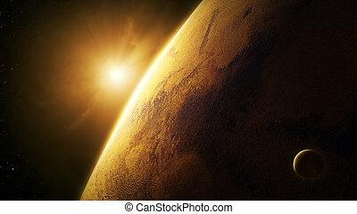 planet, mars, närbild, med, soluppgång, in, utrymme