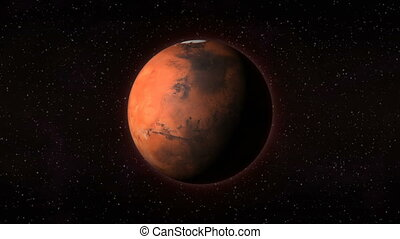 Planet Mars seen from space spinning around its axis -...
