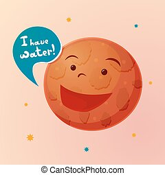 Planet Mars with cartoon face, vector illustration